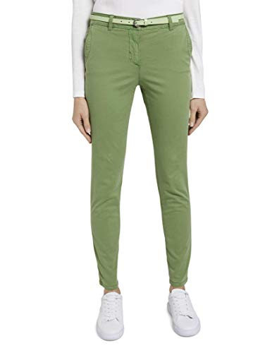 TOM TAILOR Damen Chino Slim Hose, 21173-sundried Turf Green, 42/32