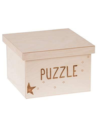 Search Box Rangement carré en Bois avec Couvercle Amovible, Bois Dense, Naturel, Puzzle 'A' Large