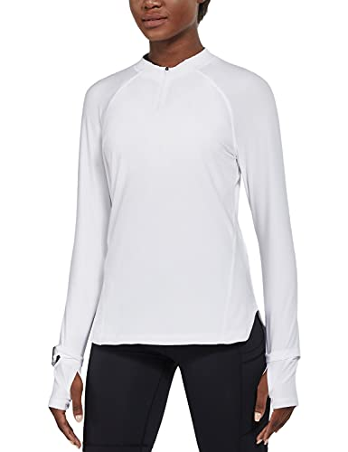 BALEAF Women's Long Sleeve Hiking Shirts UPF50+ Sun Shirts Zip Pullover Quick Dry Lightweight for Running Workout White Size L