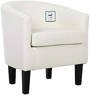 Sillón de cuero Saves Direct para comedor, sala de estar, oficina, recepción, club (blanco)