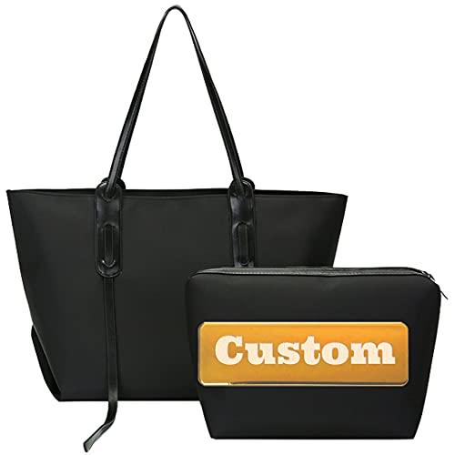 JINTD Nome personalizzato Borsa a mano in pelle di spalla grande per donna con cerniera Tote con cinturino (Color : Black, Size : One size)