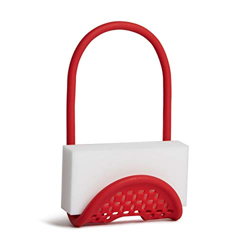 Umbra Sling Flexible Sponge Holder Kitchen Sink Accessory, Single-Sided, Red