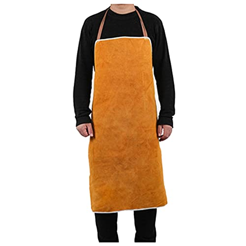 Welding Apron Leather Apron, Argon arc Welding Anti-scalding and Flame-Retardant Apron, Work Clothes (Color : Yellow, Size : 90cm)