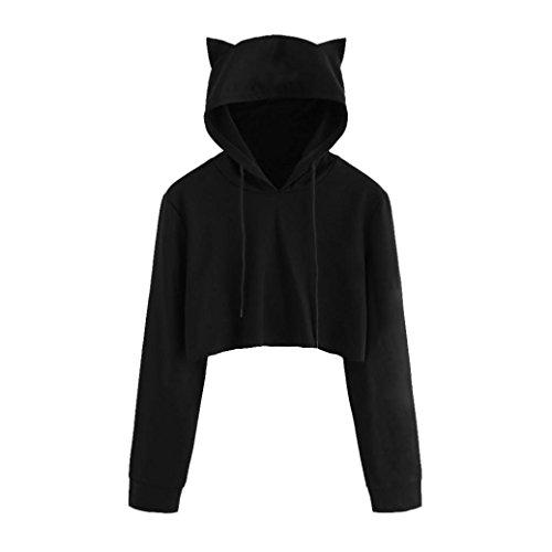 MRULIC Damen Katzenohren Langarm Hoodie Sweatshirt mit Kapuze Pullover Tops Bluse (EU-36/CN-S, Schwarz)