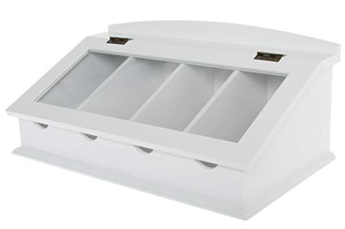 WOHNANDO Besteckkasten mit Glasdeckel, Aufbewahrungskasten, Bestecksortierung Besteck