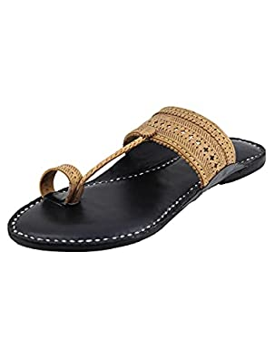 KALAPURI� Ladies Kolhapuri Chappal in Ultra Soft Genuine Leather with Black Pointed Shape Base and Traditional Punching Upper. Handmade in Kolhapur