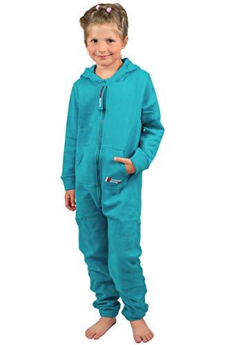 Gennadi Hoppe Kinder Jumpsuit - Jungen, Mädchen Onesie Jogger Einteiler Overall Jogging Anzug Trainingsanzug, türkis,158-164 - 4