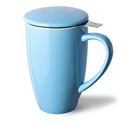 SWEEJAR Porcelain-Tea Mug-Infuser-Lid,Teaware with Filter, Loose Leaf Tea Cup Steeper Maker, 16 OZ for Tea/Coffee/Milk/Women/Office/Home/Gift