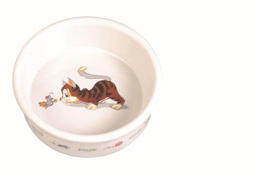 Trixie | Napf mit Motiv, Katze, Keramik, weiß | Ø 11 cm, 200 ml
