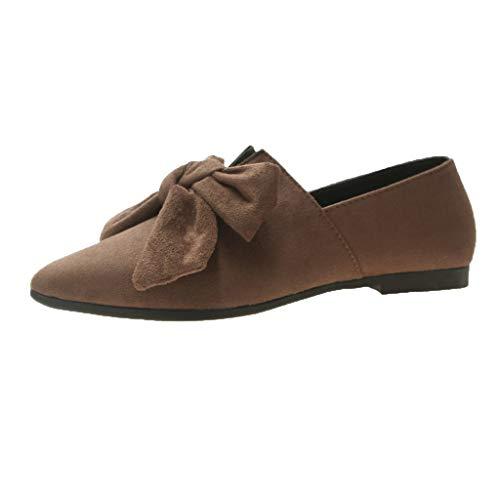 Schuhe Frauen Bow Flats Schuhe Candy Color Slip On Flache Ballerinas Schuhe (38,Khaki)