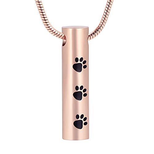 Collar de urna Conmemorativa cilíndrica para Perro, Gato, Mascotas, Cenizas, Colgante de Pata, Mujeres, niñas