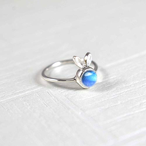 Rabbit Ear Design Silver Ring, Pure 925K Sterling Silver, Cab Round, Natural Rainbow Moonstone, Dainty Ring, Tiny For Girls, Handcrafted Jewelry, Women's Moonstone Ring, Daily Wear, Size 3-12 -  World of Genuine Gem