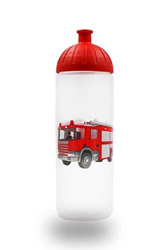 ISYbe Original Marken-Trink-Flasche für Klein-Kinder, 500 ml, BPA-frei, Feuerwehr-Motiv für Jungen, für Schule-Reisen-Kita-Kiga-Outdoor geeignet, Auslaufsicher auch mit Sprudel, Spülmaschine-fest