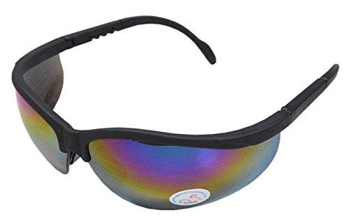 Sportliche Schutzbrille Plastikbrille Radbrille Arbeitsschutz ANSI Z87.1 CE-Norm -SCHWARZ/VERSPIEGELT-