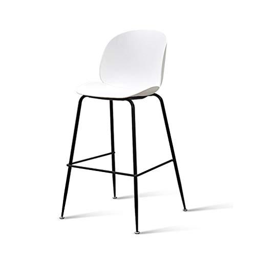 Design moderne hauteur du siège 108cm mode beau banc chaise métal en plastique café cuisine comptoir tabouret (Color : White)