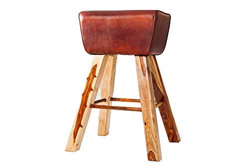 DuNord Design barkruk kruk bruin echt leer 75 cm massief hout
