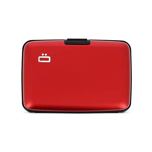 Ögon Smart Wallets - Cartera de Aluminio Stockholm - Tarjetero RFID antirrobo - Capacidad 10 Tarjetas y Billetes - Rojo