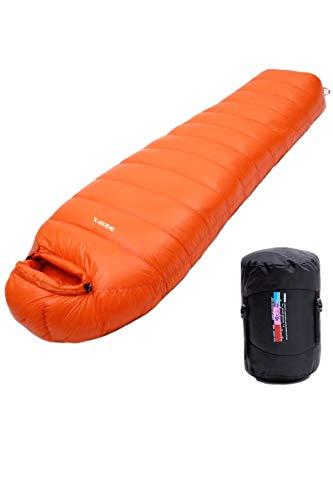Dripx 寝袋 シュラフ 【最高級 ホワイトグースダウン 】 キャンプ アウトドア マミー型 軽量 (オレンジ, 400)