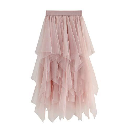 Geagodelia Tüllrock Damen Mädchen Elegant Weich Knielang/Lang Sommerrock Vintage Tütü Rüschen Tüll Rock One Size 36/38/40 F-47737 (Pink)