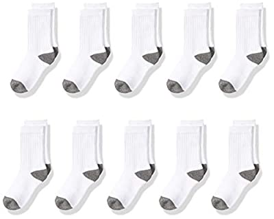 Amazon Essentials Kids Boys Cotton Crew Socks, 10-Pack White/Grey, Medium from Amazon Essentials