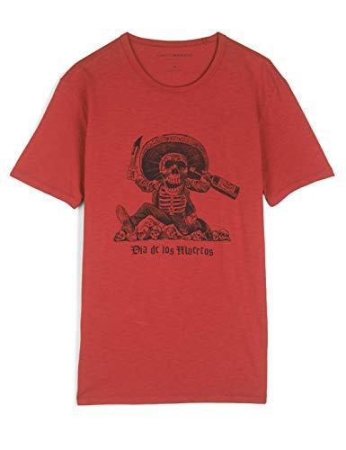 Lucky Brand Men's Short Sleeve Crew Neck Dia De Los Muertos Tee Shirt, Pompeian Red, XL