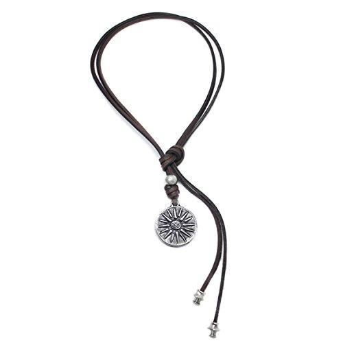 Beau Soleil Jewelry Lederkette Damen und Herren mit Sonnen Symbol Anhänger Schmuck-Kette mit Münzen-Anhänger