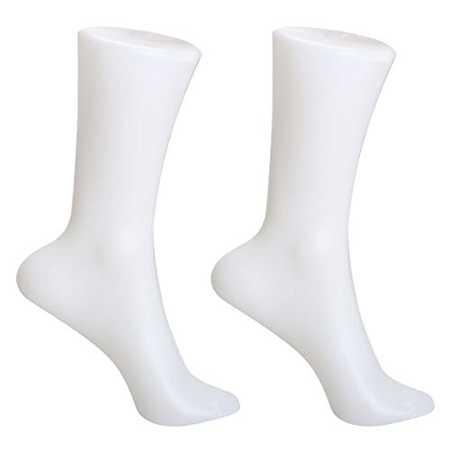 SODIAL 2pzs Molde de monitor de edias calcetin del pie de mujer Maniqui de media corta Blanco