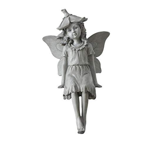 CasaJame Figura de jardín sentada y sentada, decoración de jardín, elfo de hada, resina gris, altura de 38 cm