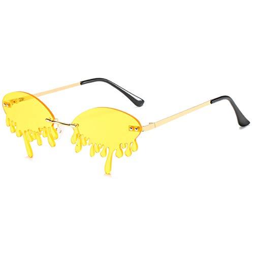 Gafas de sol de moda sin montura para mujer y hombre, gafas de sol con lágrima, color Amarillo, talla Talla única