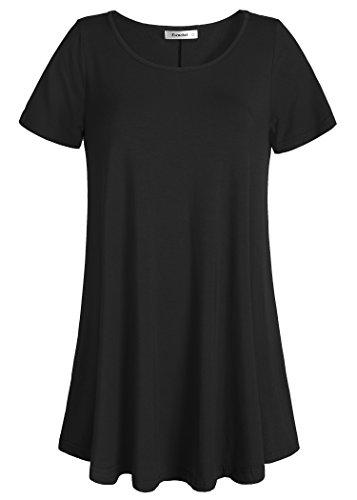 Esenchel Women's Tunic Top Casual T Shirt for Leggings 2X Black
