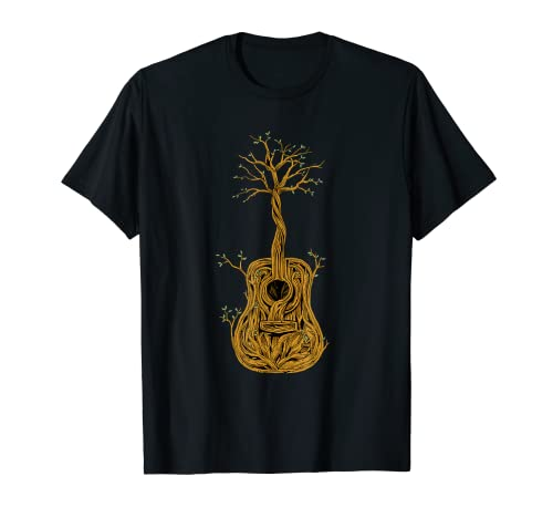 Acoustic Guitar Music Player Tree of Life Nature Guitarist Camiseta