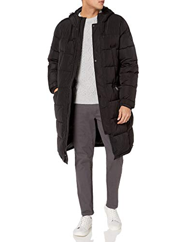 Vince Camuto Men's Long Insulated Warm Winter Coat Parka, Black, Large