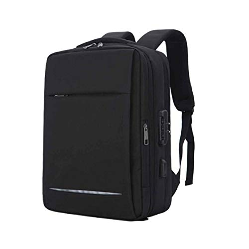 ZQQC コンピュータバッグ、バックパック、トートバッグ、14から15.6インチのダブルレイヤー旅行旅行コンピュータバッグ、コンピュータバッグ、防水コンピューターバッグ、アーバンバックパック、大容量のスクールバッグ。 旅行しやすく、持ち運びしやすく、大容量 (Color : Black)