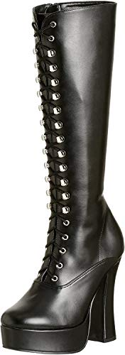 Pleaser ELECTRA-2020 Damen Stiefel, Blk Faux Leather, 44 EU / 13 US