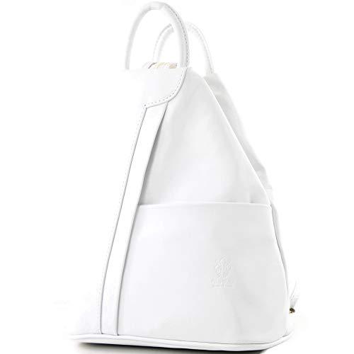 modamoda de - T180 - ital Damen Rucksack Tasche Nappaleder, Farbe:Weiß