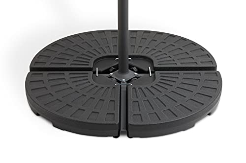 909 OUTDOOR Poids de Parasol Plastique, Support pour Parasol Noir, Base de Parasol avec Couvercle, 4 Parties, 100x100x80cm
