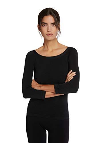 Wolford Damen Cordoba Pullover Rundhals, Schimmer Sweater Shirt Oberteil 3 4-Arm Basic klassisch figutbetont nahtlos einfarbig,7005 Black,Medium (M)
