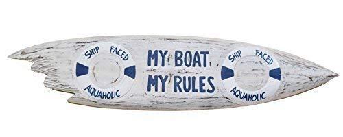 Deko Surfboard 100cm mit Nautica Motiv Dekoration zum Aufhängen Lounge Style Boot