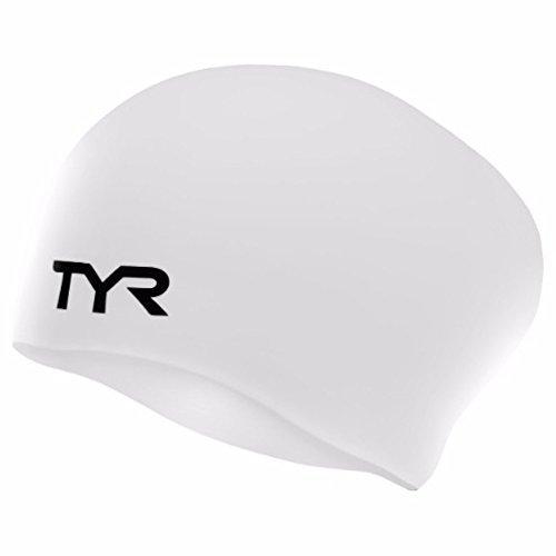 Sport Long Hair Silicone Swim Cap,White - 1