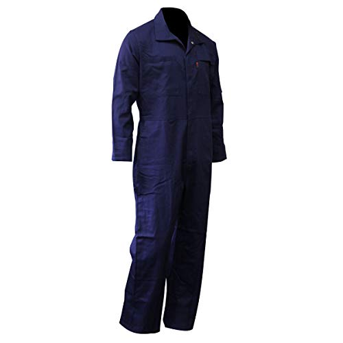 Chicago Protective Apparel 605-FRC-N-M FR Cotton Coverall, Medium, Navy