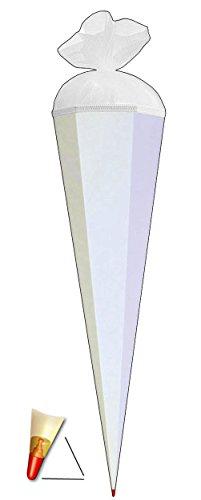 Unbekannt Schultüte - einfarbig - Rohling / Bastelschultüte - Weiß - 70 cm - mit Holzspitze / Filzabschluß - Zuckertüte Roth - zum Basteln, Bemalen und Bekleben