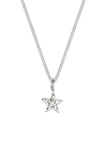 Elli Halskette Damen Stern Astro Elegant mit Kristalle in 925 Sterling Silber