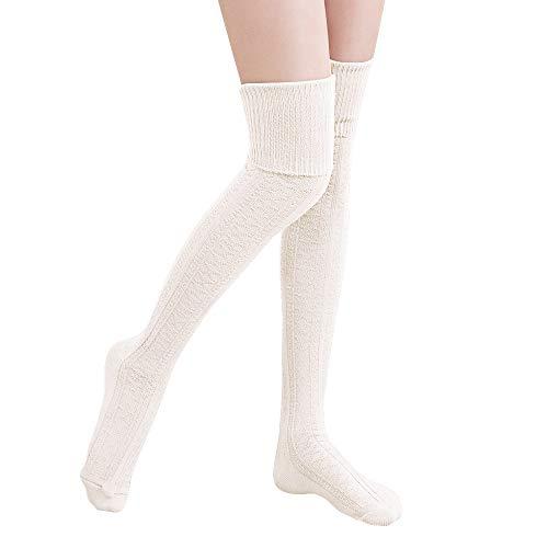 Hitop Oberschenkelhohe Kniestrümpfe für Damen, Mädchen, Winter, warm, gehäkelt, lange Socken, Beinwärmer, Leggings -  Beige -  Einheitsgröße Passen Alle