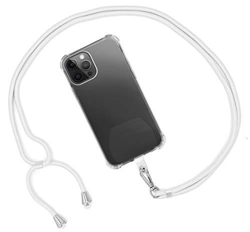 MyGadget Cordón Universal para Apple iPhone 12 Mini Pro X XR XS MAX/Huawei P30 Lite P20 / Samsung Galaxy S10 Plus S9+ A40 / Xiaomi Mi 9 Redmi Note 7 Blanco