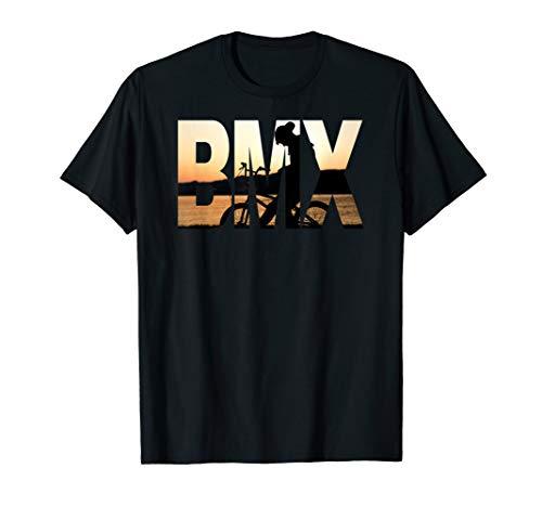BMX T Shirt, BMX text with BMX bike rider image