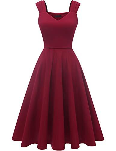 DRESSTELLS Damen 1950er Midi Rockabilly Kleid Vintage V-Ausschnitt Hochzeit Cocktailkleid Faltenrock Burgundy S