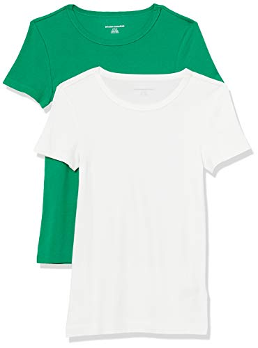 Amazon Essentials 2-Pack Slim-fit Short-Sleeve Crewneck T-Shirt Fashion-t-Shirts, Verde/Blanco, US S (EU S - M)