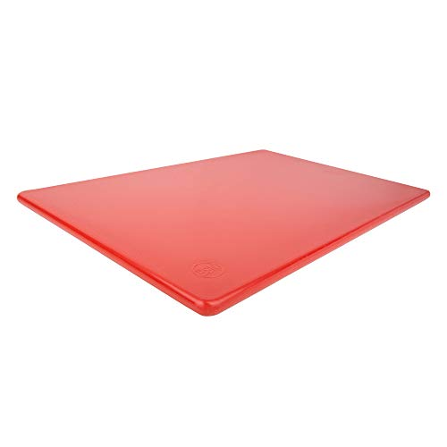 Commercial Plastic Red Cutting Board, 18 x 12 x 0.5 Inch, NSF