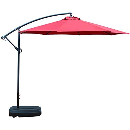 IOIOA Offset Paraguas en voladizo, Paraguas suspendido al Aire Libre Patio con Ascensor manivela Ajustable, con 8 Costillas robustas para la rotación de 360 Grados (Rojo)