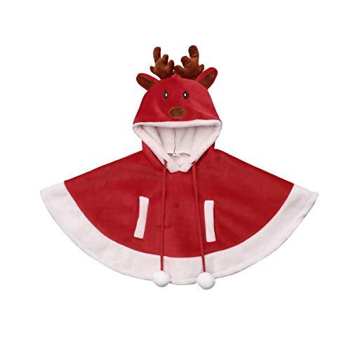 Loalirando Capa de Princesa Disfraz Navidad para Bebé Niña con Capucha Costume Trajes Reno Christmas Halloween para Carnaval Cosplay Rojo (6Meses - 4 Años)